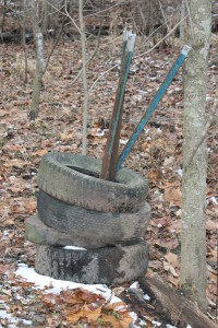 Tires and posts from an old water gap